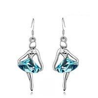 Dangle & Chandelier ballet earrings - Hotselling wholesales Fashion K GP Ballet dancing Girl Crystal Pendant Earrings fashion crystal Jewelry SKU B005