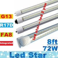 ac covers - 8ft FA8 Single Pin G13 Integrated R17D T8 Led Tubes Light W Double Sides LEDs Clear Cover Cold White AC V