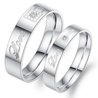 bezel locks - OPK Stainless Steel Couple Rings Korean Jewelry lock key his and hers promise ring sets L Lover Rings