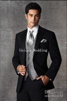 Wholesale Custom Made Groom Tuxedos Two Buttons Black Notch Satin Lapel Best man Groomsman Men Wedding Suits Bridegroom Jacket Pants Tie Vest T0019