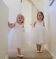 Cheap Children Wedding Dress for Girls Sequre Neckline Ankle Length Ivory Ball Gown Flower Girls' Dresses Cute Tulle Little Girls Pageant Dresses