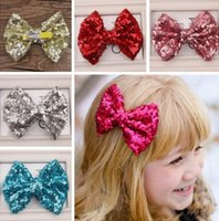 fashion children hair clip - Baby barrettes new Europe and cute girls children sequins hairpin large bow hair jewelry colors Hair Clip Fashion Paillette Sequin Bow