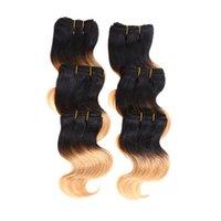 al por mayor más barato el pelo de color brasileño-Más baratos de la venta caliente 6pcs / lot 300g 50g / pc Corto Tamaño 8Inch brasileña Bodywave extensión del pelo humano