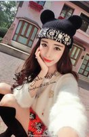 Wholesale Bear ears crystal diamond cheap beanies winter hat for women bonnet fur caps female Knitted hat