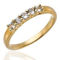 CINQ PIERRE ORIGINAL AQUAMARINE GEMSTONE 18K JAUNE SUR OVER SILVER RING ENGAGEMENT WEDDING