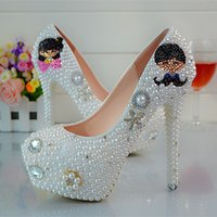 ballet animations - Beautiful Pearl Rhinestone Bride Wedding Shoes Lovely Lovers High heeled Pumps Fashion Women Party Prom Shoes Banquet Shoes