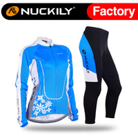 bicycle lake - Nuckily Flower pattern bike clothing bule lake ladies cycling wear Best quality with price of women s long bicycle set