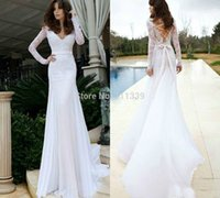 Cheap Top White Ivory Wedding Dress Full Sleeve Mermaid V-neck Bridal gowns Chiffon Lace Backless