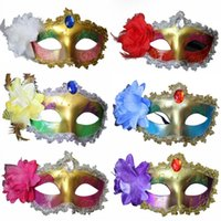 Wholesale MJ013 Carnaval Red Rhinestone Lace Party Halloween Masks for Women Venetian Masquerade Mask Feathers Flowers Paillette Female Anonymous
