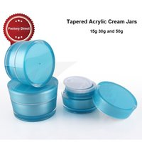 Wholesale 10pcs Fashion Blue Tapered Acrylic Empty Plastic Cream luxury Jar ml Cosmetic Containers Pots PJ10