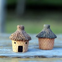 Wholesale lovely cottage miniatures shabby house fairy garden gnome terrarium decoration resin crafts home decor H001