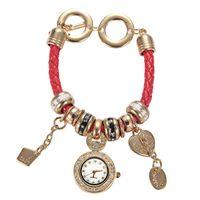 crystal drops - Drop shipping Korean Vine Wrist Watches crystal diamond Love Pendant handmade weave leather bracelet watch women s Quartz watches