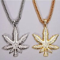 iced out jewelry - New Arrive Gold Leaf New Iced Out Pendant Pot Necklace And Franco Style Chain Hip Hop Weed jewelry