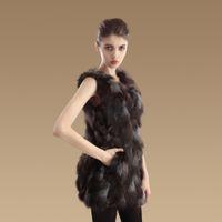 Wholesale genuine fox fur vest for women fashion v neck slim sleeveless long woman furs coat