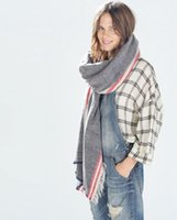 Wholesale Big Brand Pure Color Scarf Wrap Stripes Pattern Scarves All Match Warmer Infinty Shawls Mix Colors
