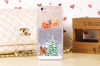 apple iphone themes - Christmas Theme Skin Liquid Glitter Transparent Clear Hard Plastic back cover case cases For Iphone S S Plus