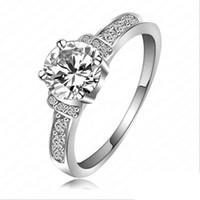 Wholesale New Engagement Wedding Finger Rings CZ Diamond Platinum Plate Fashion Rhinestone Jewelry for Women Ringsl