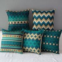 Wholesale 18 quot Square Blue Classical Geometric Cotton Linen Cushion Cover Sofa Decorative Throw Pillow Chair Car Home Decor Pillow Case almofadas CN009