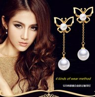 Women's imitation jewelry - Newest Sterling Silver Jewelry Stud ABS Imitation Pearl Butterfly Pearl Pendant Stud Earrings Dangle Stud Earrings Kinds Of Wear Method