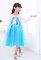 Wholesale 2014 Hot Frozen dress Girls Dresses Frozen long sleeves Fall dress girl party dress anna princess costume baby girls elsa dress