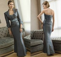 Wholesale Elegant Sweetheart Mermaid Taffeta Evening Dresses With Jacket Beaded Ruched Zipper Floor Length Mother of the Bride Dresses