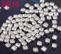 Wholesale High quality SS16 mm Silver Plated Loose Crystal Sew On Rhinestones Metal Findings for Jewelry Making