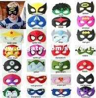 Wholesale Felt SUPERHERO MASK Superman Batman Spiderman Hulk Thor IronMan Flash Captain America Wolverine Halloween Party Costumes for Kids Childr