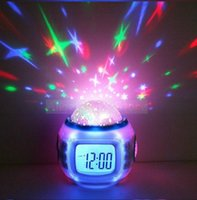 best modern music - 10 sets flash colors Music Starry Star Sky Projection Alarm Clock Calendar Thermometer Best gift with manual retail package