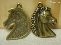 Wholesale Cheap Horse Necklaces - Yearning Antique Bronze Zinc Alloy Lovely Horse Head Charms Pendants Fit Necklace 41*30MM 20pcs lot Charms Cheap Charms