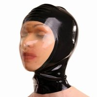 accessories costumes sexy - Quality Latex Fetish Bondage Mask Hoods with Transparent Face Natural Latex Fetish Hoods Sex Hood Headgear Mask Adult Game Produt