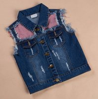 denim waistcoat - kids boys spring autumn fashion korea style denim waistcoats with patchwork stripe cloth