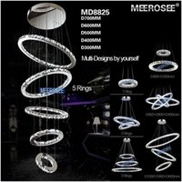 Wholesale Lamp Ceiling Lights Lustres De Teto Modern Rings Crystal Led Ceiling Light Fixture Lighting for Stairs Staircase Hotel Villa Hallway Porch