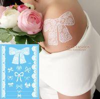 arabic tattoos - attoo Body Art Temporary Tattoos Arabic White henna Lace Temporary Tattoo Elegant Flash dandelion Tatoo sheets Transferable Hen