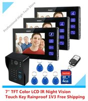 Wholesale 7 quot TFT Color LCD Hands Free Video Intercom Doorbell Record IR Night Vision Touch Key G SD Card Rainproof V3 Video Door Phone