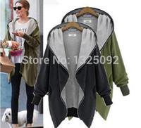 Wholesale Trench CoatsTrench Fashion Casual Hooded Boyfriend Style Women Oversize Zip UP Long Coat Hoodie Cardigan b40547