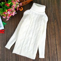 Wholesale New Pure Color Winter Boy Girl Fashion Thick Knitted Bottoming Turtleneck Shirts Solid High Collar Sweater