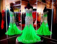 chiffon pageant gowns - 2016 Real Pictures Sparkling Mermaid Prom Dresses Evening Gowns With Crystals Sweetheart Chiffon Beaded Glitz Pageant Dress with Rhinestones