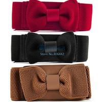 Wholesale 9pcs Women s Dress Fashion Pop Bowknot Waistband Elastic Wide Belt