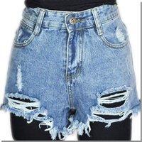 Cheap freeshippping women punk rock fashion street vintage grunge ripped hole water wash retro high waist sexy denim shorts jeans