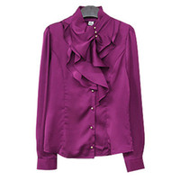 Wholesale Collar Decorated Ladies - Wholesale-2015 Korean Candy Color Fashion Women Solid Work Shirts Size S-2XL Turtleneck Button Decorated Collar Design Lady Formal Blouse