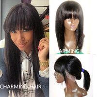 cheap full lace wigs - Free gifts unprocessed cheap A peruvian yaki straight full lace wig with bangs virgin peruvian human hair lace front wig with bangs