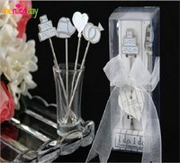 Wholesale New Arrivals White Blue Fruit Forks Creative Tablewares Four Pieces Dinnerware Set Wedding Accessories Fashion Gift Stainless Steel Fork