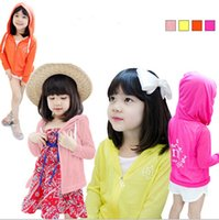 Wholesale 2015 Girls Summer Sun Protection Cotton Jacket Korean Children kids Long Sleeve Hooded Coat with Zipper Clothes with Hat for Girls