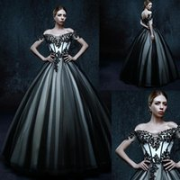 Wholesale Gothic Wedding Dresses Off The Shoulder Black Short Sleeves Bridal Gowns Ball Gown Floor Length Dress For Brides Informal Custom Made