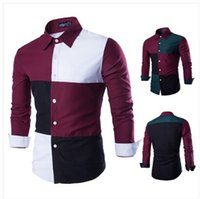 Wholesale 2015 New Fashion Men Casual Shirts Turn down Collar Long Sleeve Shirt Unique Grid Joint Design Cotton Blend Shirt