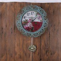 Antigüedades relojes de pared de la decoración azul de bronce clásico Europe Pared estadounidense relojes de cuarzo redonda grande relojes de pared del anillo Reloj GZ16012