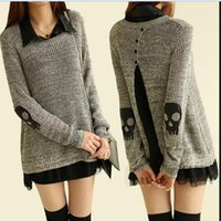 Women Pullover Long Korean yarn knit skull headdress flower type two piece set loose in the long section of hair