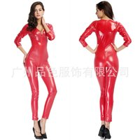 night clothes motorcycle Canada - Collarless long-sleeved coveralls pants zipper leather section Night club clothes big red motorcycle clothing outlet Halloween dress