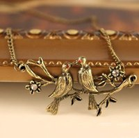 Cheap 2015 New Fashion Hot Selling Jewelry Vintage Flying Two Birds Flowers Simulated Diamond Necklace Swallows 66N313