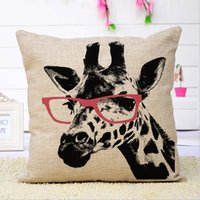 Cheap Cartoon deer deer 2 styles cotton single pillowcase for sofa or bed pillowslip envelope pillow bolster covers 45*45cm